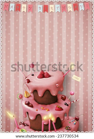 Greeting card or poster to celebrate with cake and candy and berries.  - stock photo