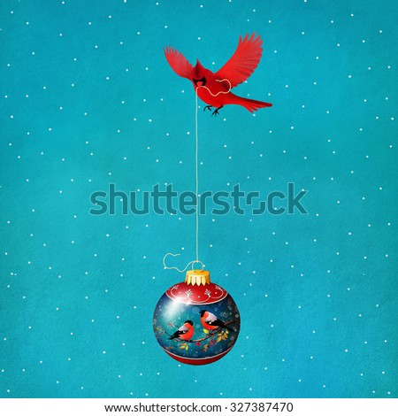 Greeting card or poster with glass Christmas balls and bird cardinal - stock photo