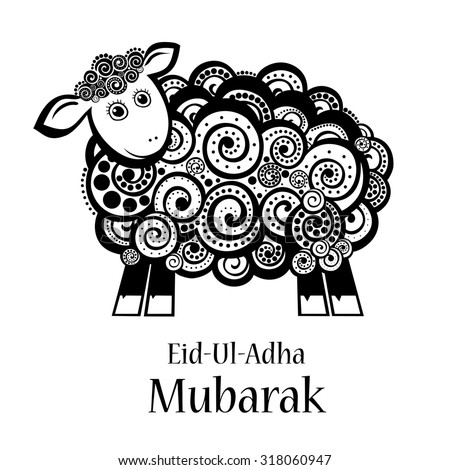 Greeting card template for Muslim Community Festival of sacrifice Eid-Ul-Adha with sheep.  Illustration