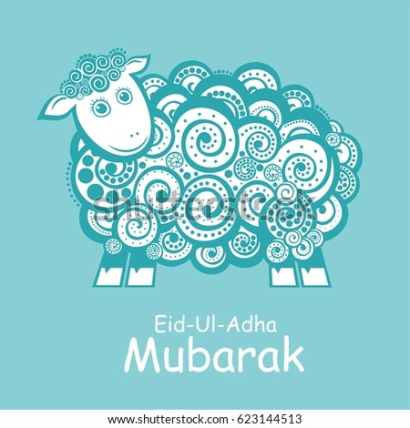 Greeting card template muslim community festival stock illustration greeting card template for muslim community festival of sacrifice eid ul adha with sheep m4hsunfo