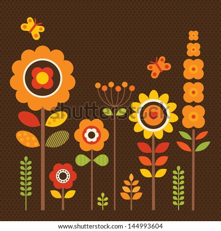 Greeting card template with retro style flowers. Great for framing, Birthday, Mother's Day, Thank You, Sympathy, Thanksgiving, invitations. See my folio for vector version and for other colors. - stock photo