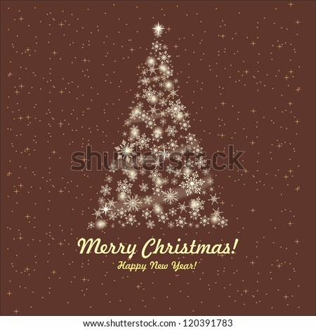 Greeting card with a Christmas tree and wishes