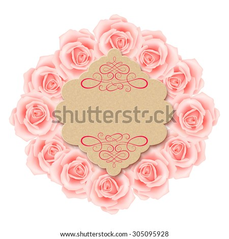 Greeting card with beautiful roses  - stock photo