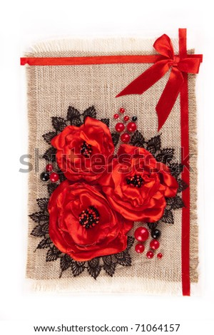 greeting card with bunch of red flowers