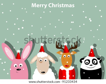 Greeting card with bunny, deer, ship and panda bear
