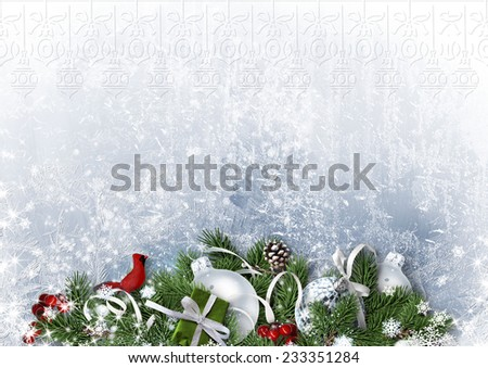 Greeting Card with Christmas balls and fir-tree on white paper - stock photo