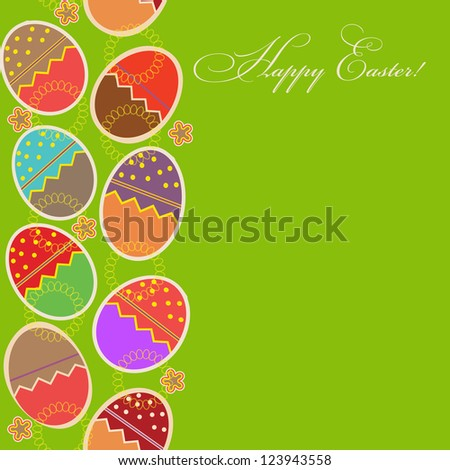 greeting card with different easter eggs - stock photo