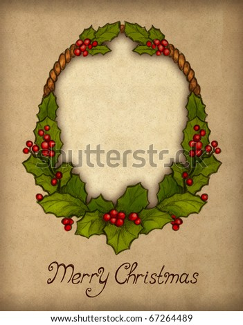 Greeting card with drawing of holly berry - stock photo