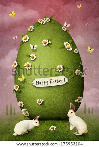 Greeting card with Easter egg and rabbits - stock photo