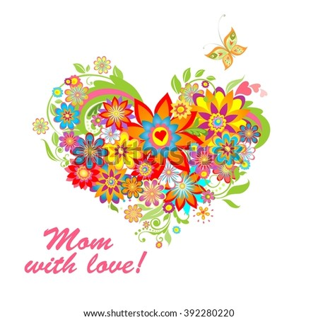 Greeting card with floral heart shape for mothers day