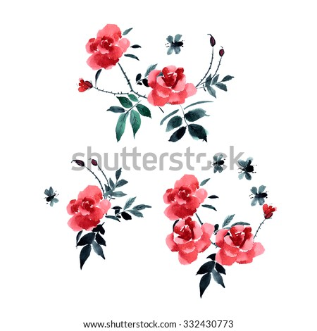 greeting card flower roses painted watercolor stock illustration