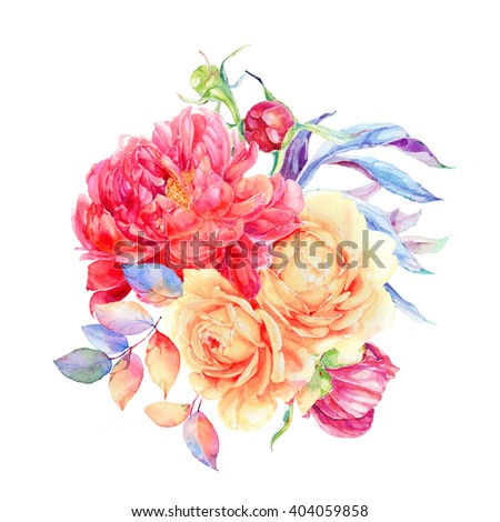 Greeting card with flowers, watercolor, can be used as invitation card for wedding, birthday and other holiday and summer background