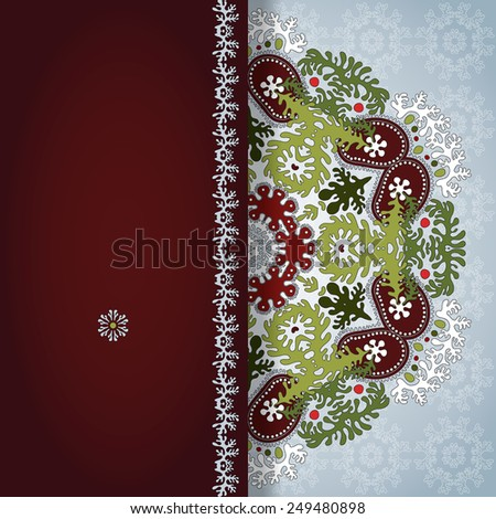 Greeting card with lace and floral round ornament. Place for your text. Perfect for greetings, invitations or announcements.  - stock photo