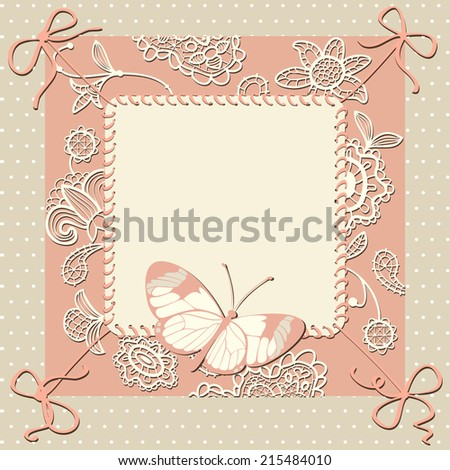Greeting card with lacy flowers, bows, butterfly and space for your text or photo. Polka dot floral background. - stock photo