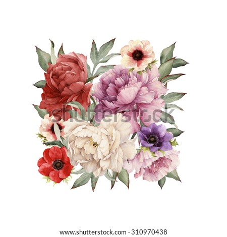 Greeting card with peonies, watercolor, can be used as invitation card for wedding, birthday and other holiday and  summer background.