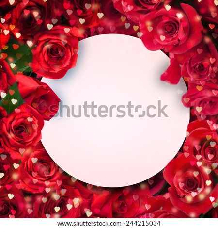 Greeting card with red rose - stock photo