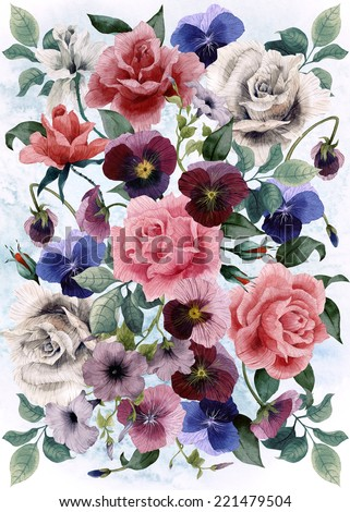 Greeting card with roses and  pansy, watercolor, can be used as invitation card for wedding, birthday and other holiday and  summer background - stock photo