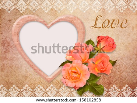 Greeting card with roses, frame and lace - stock photo