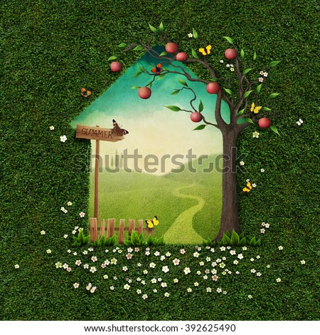 Greeting card with spring green background with fence and apple.   - stock photo