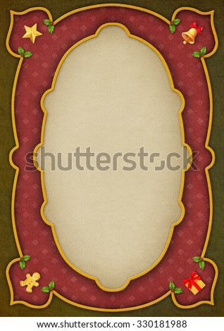 Greeting Christmas card with vintage frame - stock photo