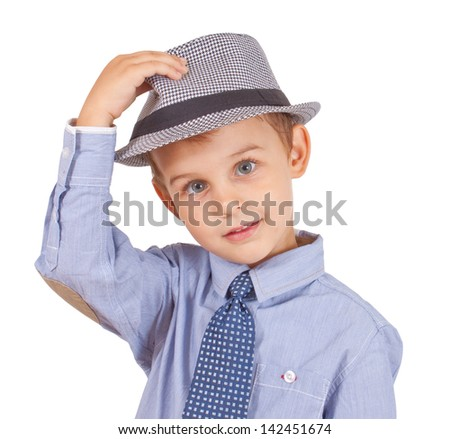 Greeting cool pretty stylish little boy isolated on white background. Clipping paths included.