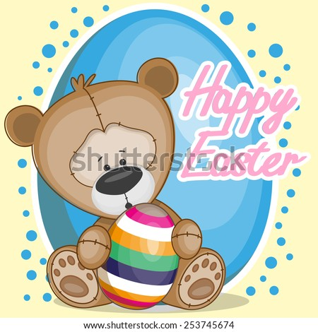 Greeting easter card Bear with egg - stock photo