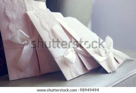 greeting envelopes on the table - stock photo