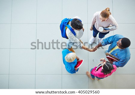 Greeting friend - stock photo