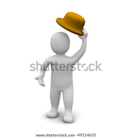 Greeting  / man raising the hat. 3d rendered illustration. - stock photo