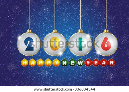 Greeting message text happy new year 2016. Creative stylish design. Vibrant numbers. Winter (December, january). Decorations glamour party. Blur soft effect glare. Glow starry sky in dusk. Calendar.  - stock photo