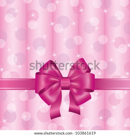 Greeting invitation card pink ribbon bow stock illustration greeting or invitation card with pink ribbon and bow light background decorated stars and stopboris Image collections