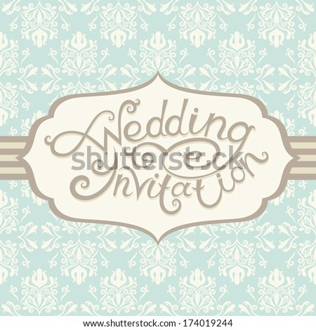 Greeting postcard in retro style. Wedding lettering - stock photo