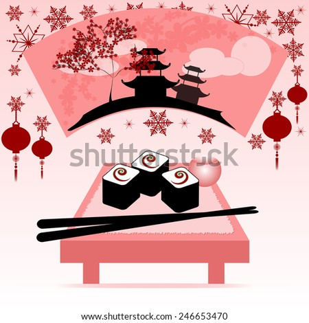 Greeting postcard with fan, rolls and chinese sticks to the Chinese New Year 2015. Raster illustration - stock photo