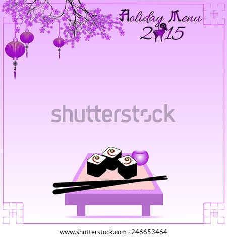 Greeting postcard with rolls and chinese sticks to the Chinese New Year 2015. Holiday menu. Violet tone. Raster illustration - stock photo