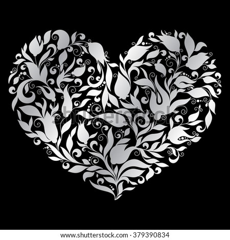 Greeting silver heart elements for design. Raster illustration. Bright illustration, can be used as greeting card, invitations for wedding, birthday, valentine's day .Paisley Doodle Flowers Design. - stock photo