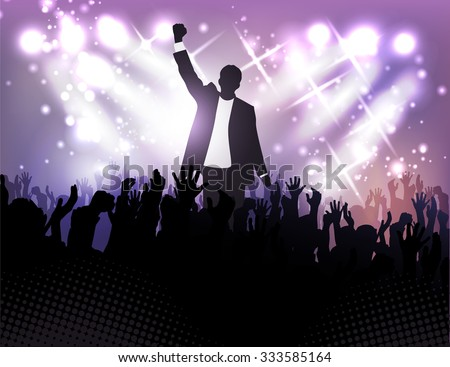 greeting the winner, active public on the background of the spotlights - stock photo