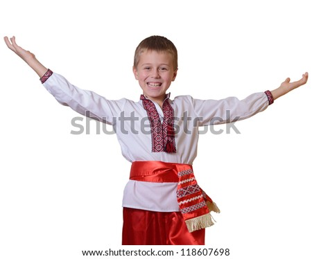 greeting Ukrainian boy - stock photo