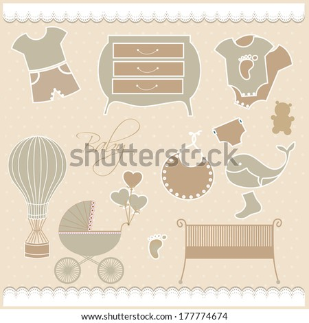 Greeting with a baby elements - stock photo