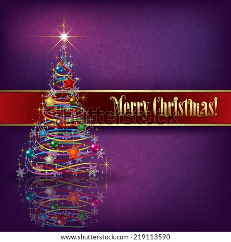 greeting with Christmas tree on purple grunge background - stock photo