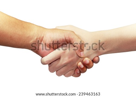 greeting with hand isolated white backgound