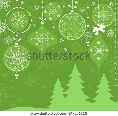 Greeting xmas card. Raster copy of vector image - stock photo