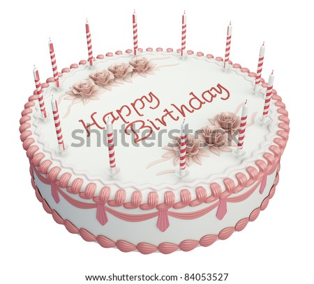 Greetings Birthday cake with candles and roses isolated over white