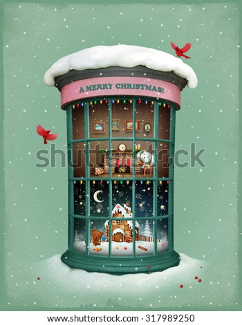 Greetings Christmas card with  festive showcase - stock photo