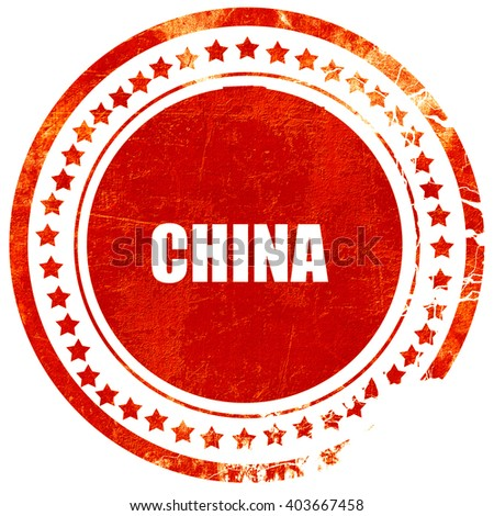 Greetings from china, grunge red rubber stamp on a solid white b - stock photo