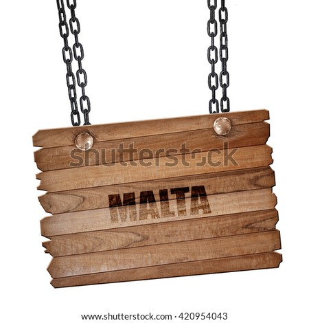 Greetings from malta, 3D rendering, wooden board on a grunge cha