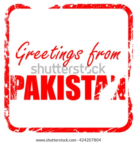 Greetings from pakistan, red rubber stamp with grunge edges