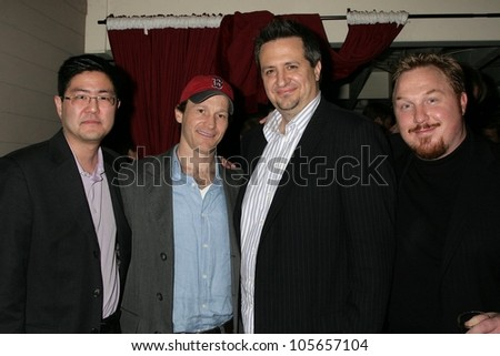 Greg Hatanaka and Michael Leydon Campbell with Craig Carlisle and Keith Kjarval at the Los Angeles Premiere Of 'Bob Funk'. Laemmle's Sunset 5 Theatres, Los Angeles, CA. 02-27-09 - stock photo