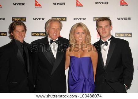 Greg Norman and family at the G'Day USA Australia Week 2010 Black Tie Gala, Kodak Theater, Hollywood, CA. 01-16-10 - stock photo