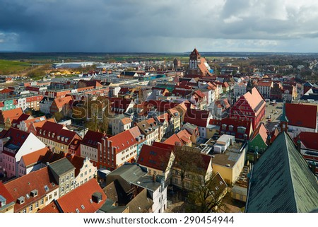 GREIFSWALD, GERMANY - APRIL 2, 2015: Streets of historical center, view of the old part of the city, Mecklenburg-Vorpommern, Germany - stock photo