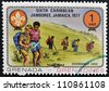 GRENADA - CIRCA 1977: A stamp printed in Grenada dedicated to the Boy Scouts shows overnight hike, circa 1977 - stock photo